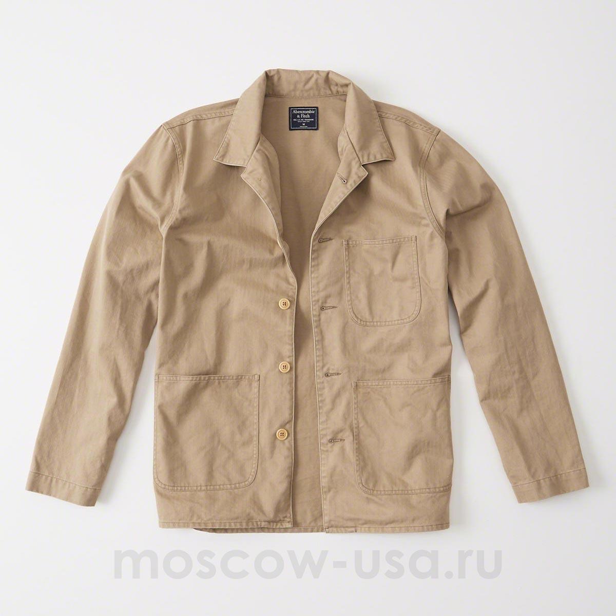 cf0aaab801e3742 Мужская рубашка-куртка Abercrombie Fitch бежевого цвета. Модель 03019 |  Купить в магазине Moscow USA
